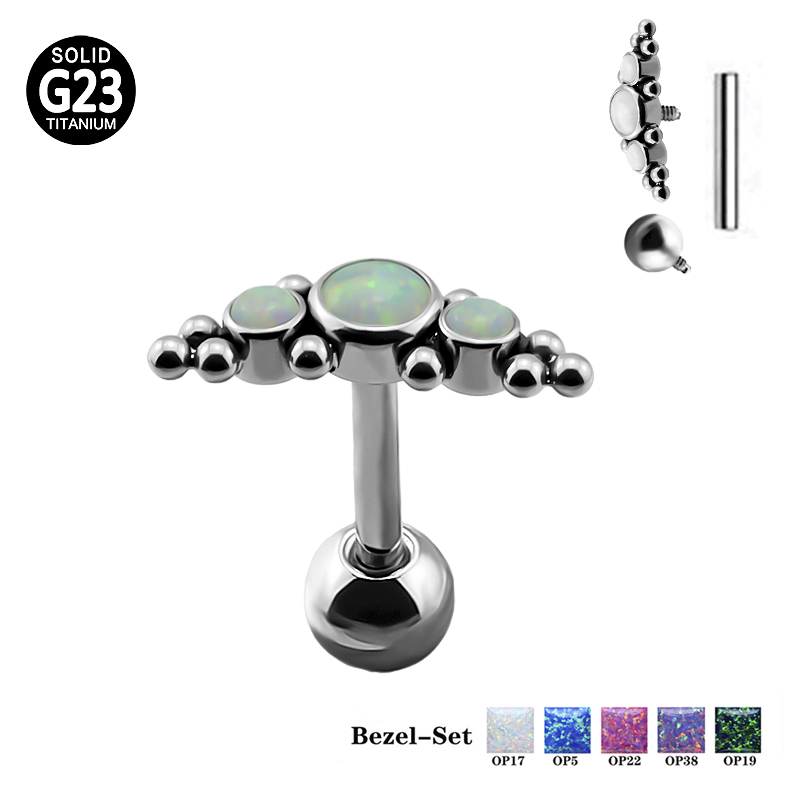 16G Solid G23 Titanium Internally Threaded Barbell w//Clear Press Fit Jeweled Ball